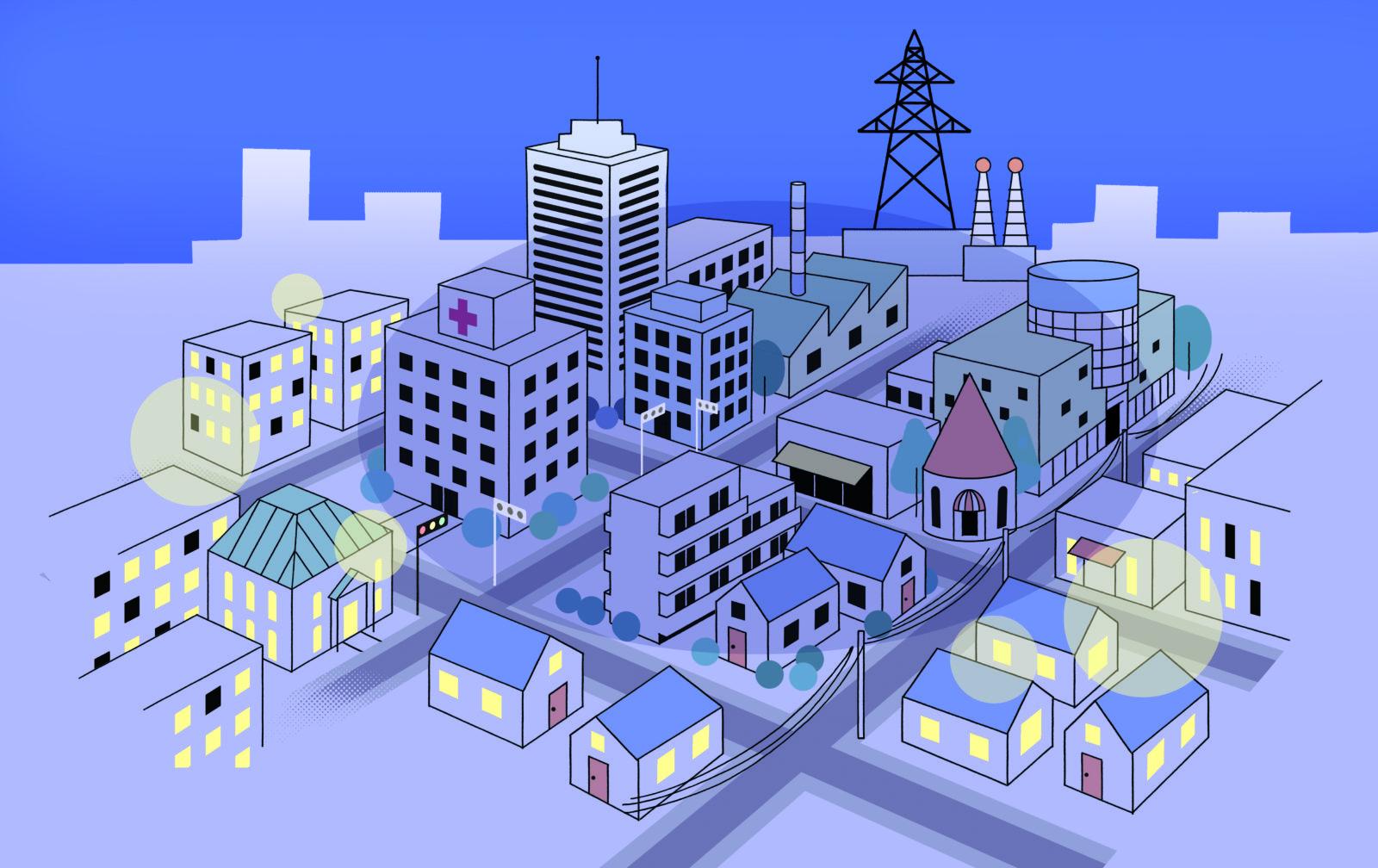 夜の街並みイラスト